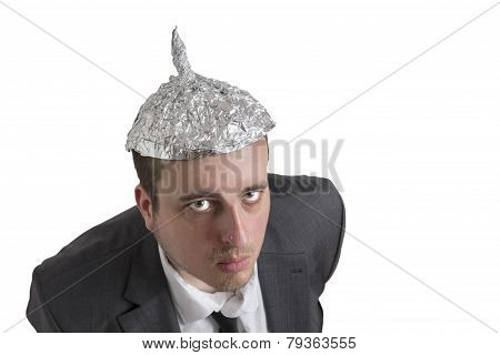 Conspiracy Freak With Aluminum Foil Head