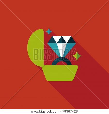 Propose Diamond Ring Flat Icon With Long Shadow,eps10