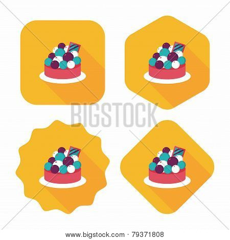 Fruit Tart Flat Icon With Long Shadow,eps10