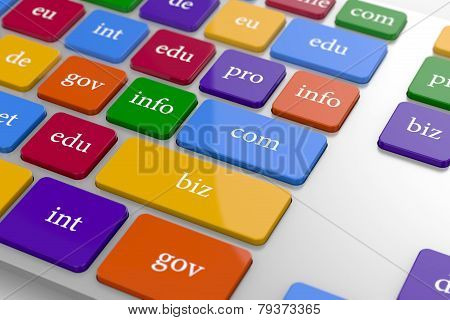 View Of Computer Kwyboard Button With Color Domain Name Buttons
