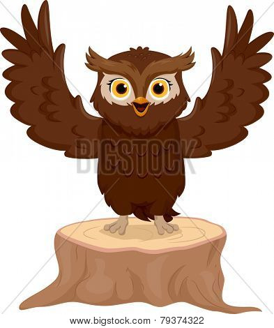 Illustration of an Owl Making a Speech With His Wings Spread