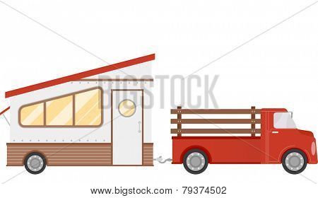 Illustration of a Trailer Home Being Pulled by a Pick Up Truck