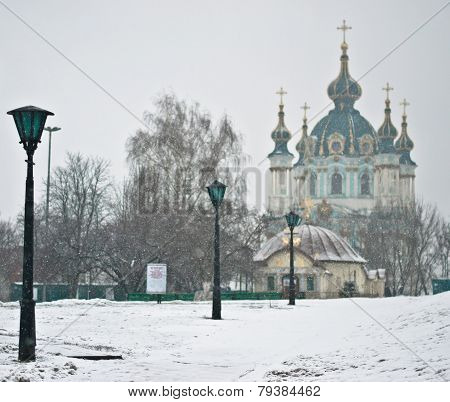 Saint Andrew's Church At The Top Of The Andriyivskyy Descent In Kyiv