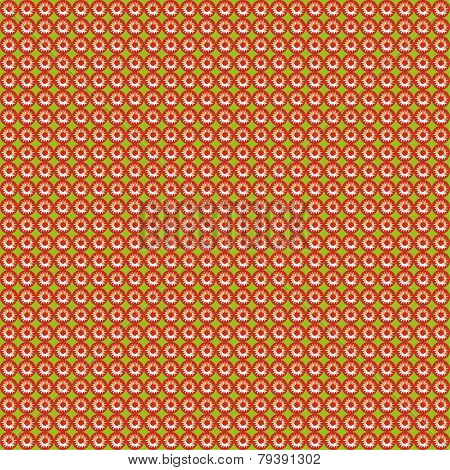 Pattern of repeating red sun on a green