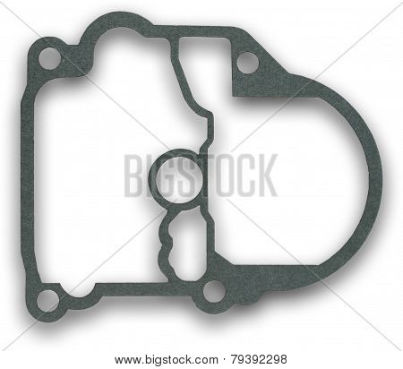 Gasket Isolated On White And Part Of Engine
