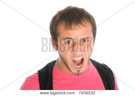 Unshaven Malicious Young Man Shouts