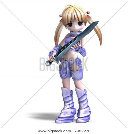 Frau Manga Paladin mit riesigen Schwert