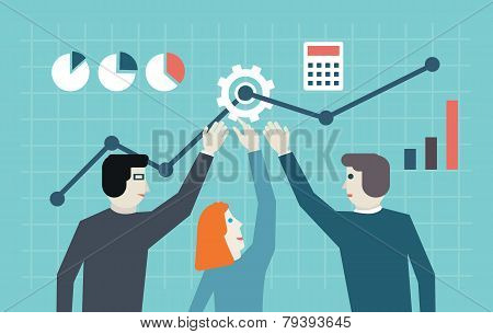 Vector Flat Concept Of Management, Human Resources And Teamwork. Workforce And Development