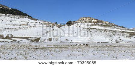 Panoramic View Of  Village Of Castelluccio Of Norcia, In Umbria, Winter,   Snow