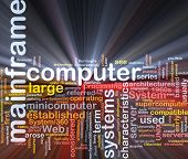 Software package box Word cloud concept illustration of mainframe computer poster