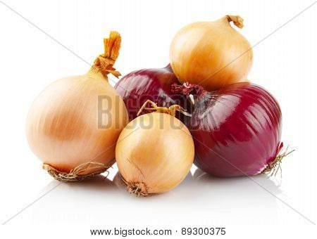 Onions And Red Onions Isolated On White