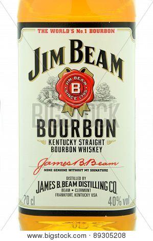 Jim Beam bourbon whiskey isolated on white background.