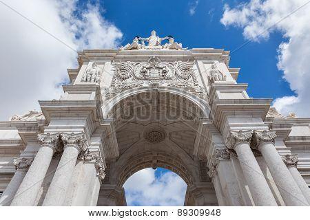 Triumph Arch in commerce square In Lisbon - Portugal poster