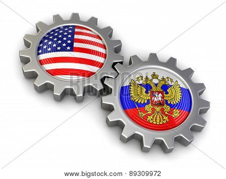 USA and Russian flags on a gears (clipping path included)