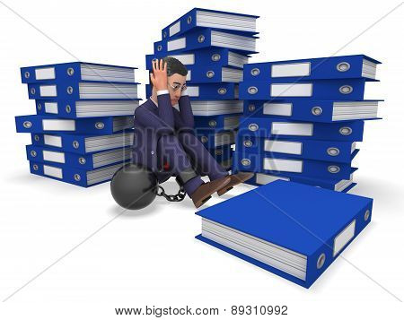 Businessman Overload Work Represents Overloading Burden And Answer