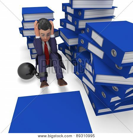 Businessman Overload Work Represents Binder Folders And Burden