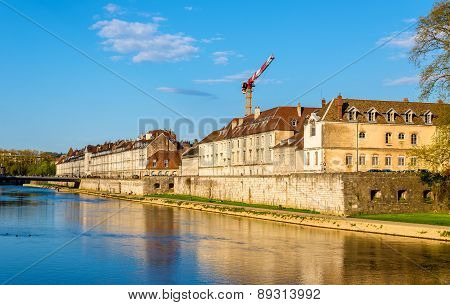 View of embankment in Besancon - France poster