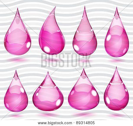Transparent Pink Drops