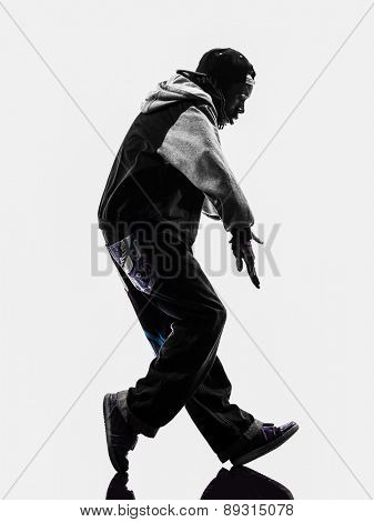 one hip hop acrobatic break dancer breakdancing young man moonwalking silhouette white background