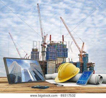 blueprints in construction site