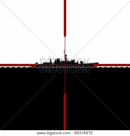 Ship in the periscope crosshairs