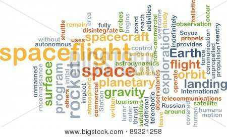 Background concept wordcloud illustration of spaceflight