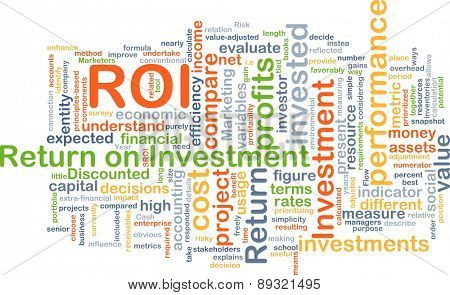 Background concept wordcloud illustration of return on investment ROI