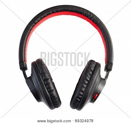 Wireless stylish headphones isolated on white background.