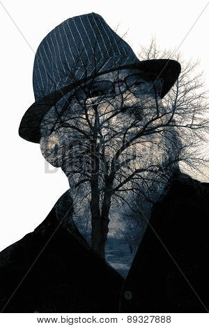 Collage Of The Man In Eyepieces And A Tree