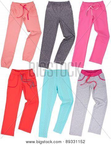 Set of female sweatpants isolated on white background
