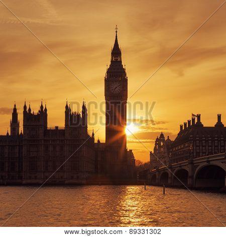 Big Ben Clock Tower In London At Sunse