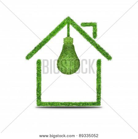 Symbol of light bulb and house