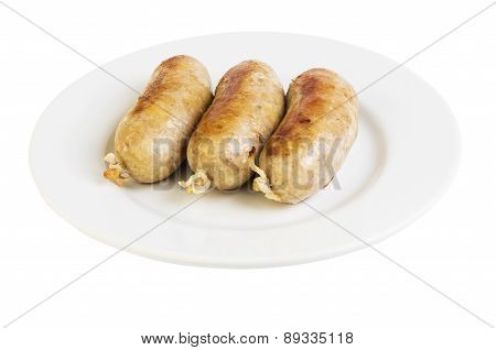 Three Grilled Sausages In Plate