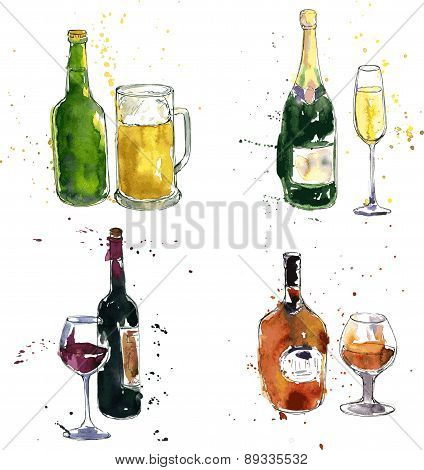 different beverages drawing by watercolor