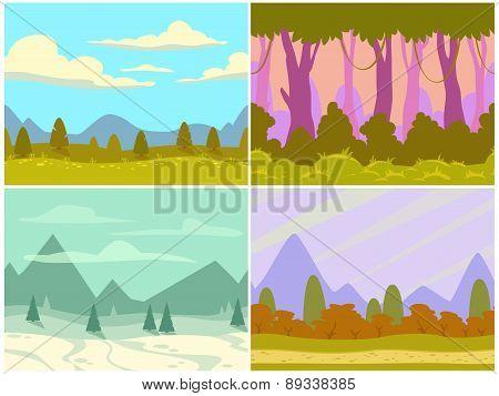 Seamless Cartoon Nature Landscapes
