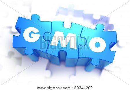 GMO - White Abbreviation on Blue Puzzles.