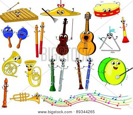 Set of cartoon musical instruments