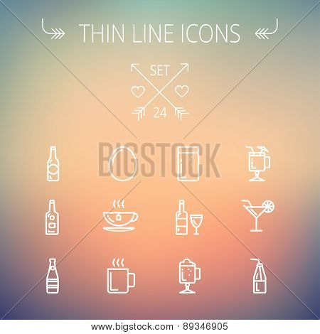 Food and drink thin line icon set for web and mobile. Set includes- soda, wine, whisky, coffee, hot choco, beer, ice tea, egg icons. Modern minimalistic flat design. Vector white icon on gradient mesh