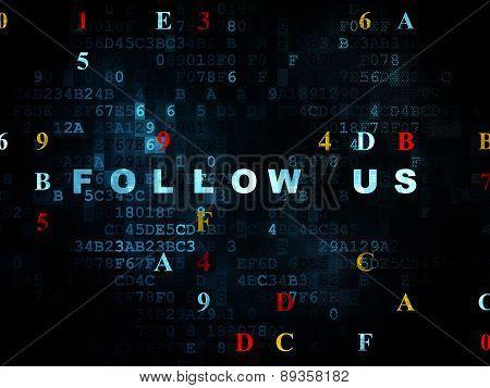 Social media concept: Follow us on Digital background