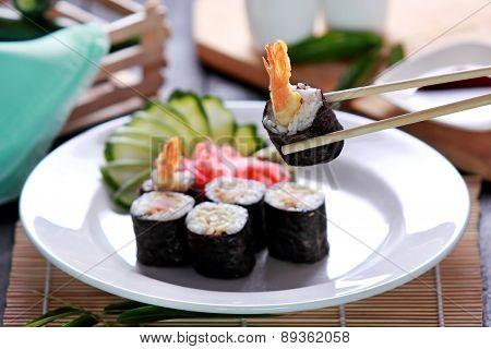 Japanese Cuisine Ebi Roll Sushi