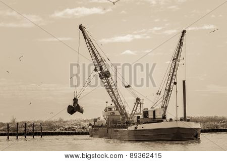 Effect Vintage. Dredger Ship Navy