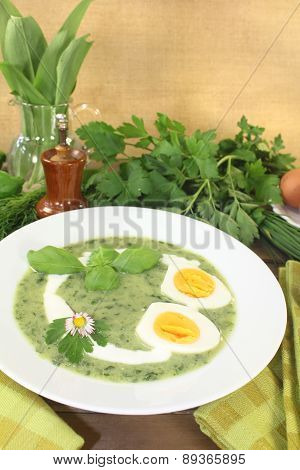 Fresh Green Herbs Soup With Eggs