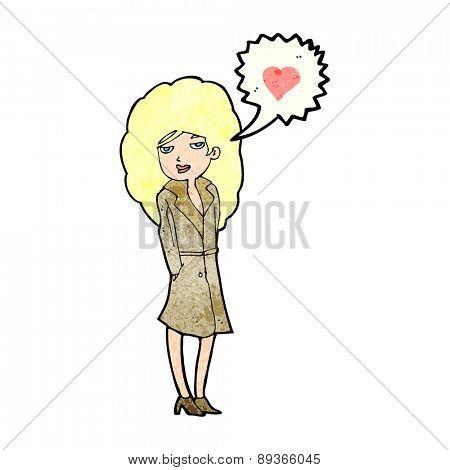 cartoon trenchcoat wearing woman in love