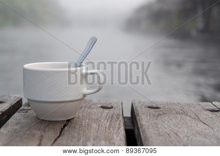 Soft shot of coffee cup
