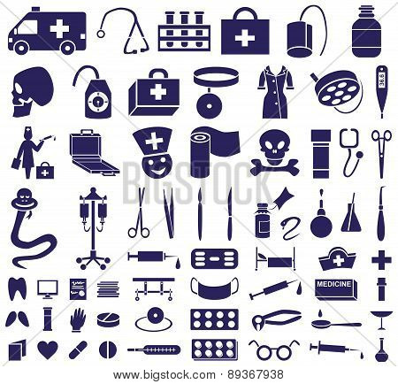 Medicine Icons On White
