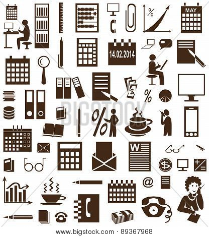 Secretary And Accountant Icons On White