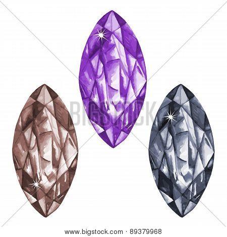 Marquis Cut Watercolour Gems Set