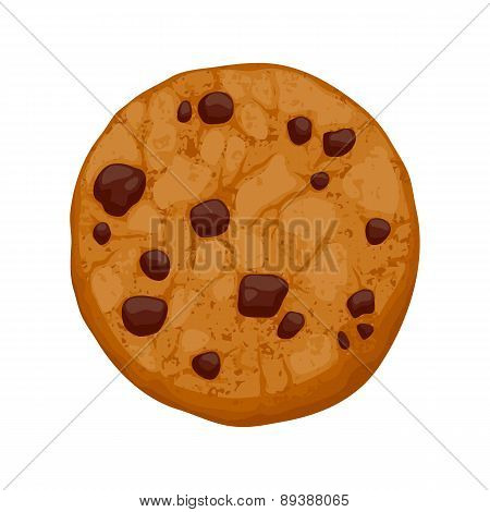 Chocolate chips cookie vector illustration.