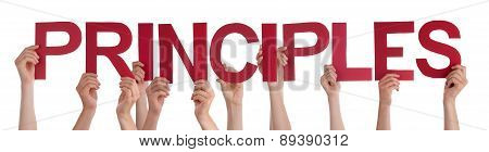 People Hands Holding Red Straight Word Principles