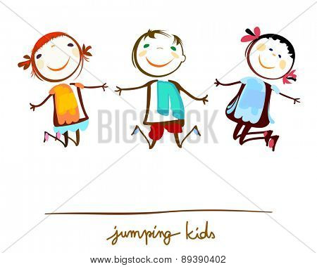 happy kids jumping